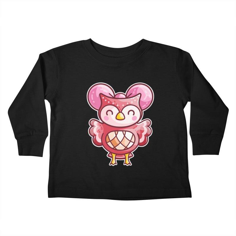 Cute Celeste Owl Kids Toddler Longsleeve T-Shirt by Flaming Imp's Artist Shop
