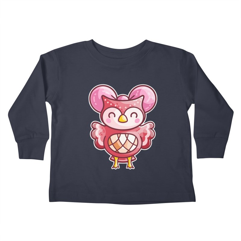 Cute Celeste Owl Kids Toddler Longsleeve T-Shirt by Flaming Imp's Artist Shop