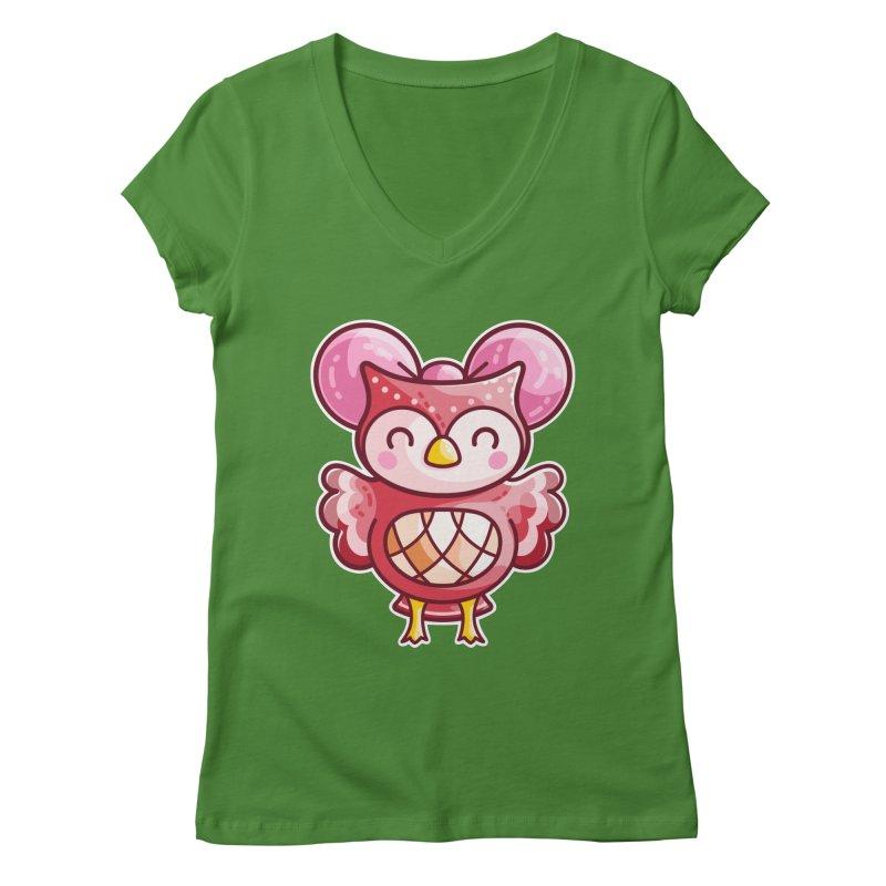 Cute Celeste Owl Women's Regular V-Neck by Flaming Imp's Artist Shop