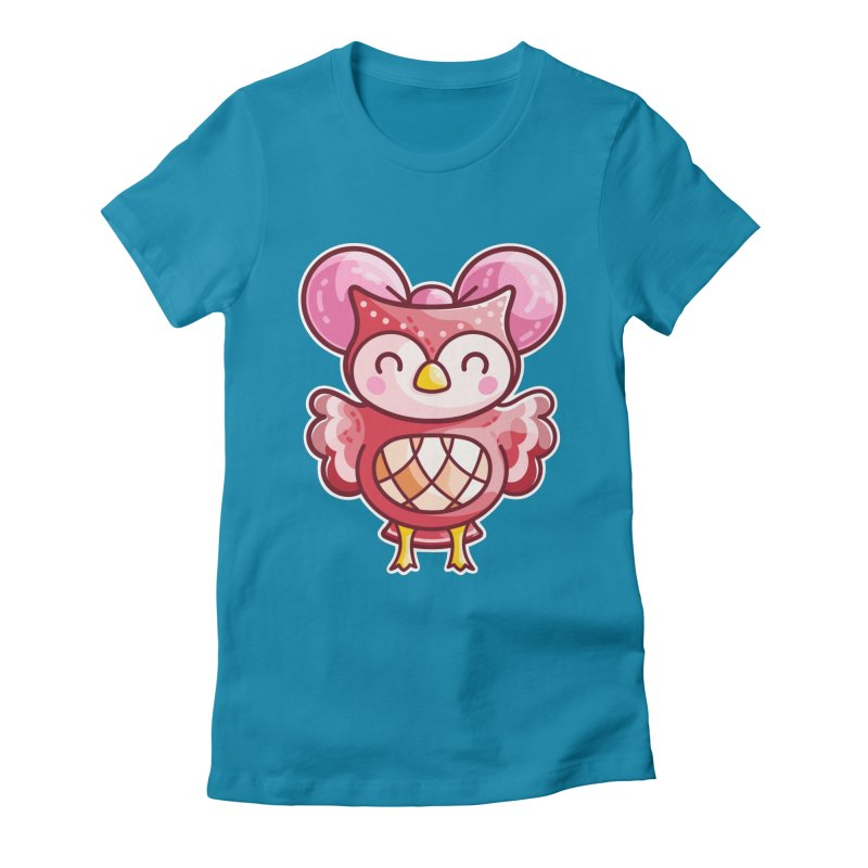Cute Celeste Owl Women's Fitted T-Shirt by Flaming Imp's Artist Shop