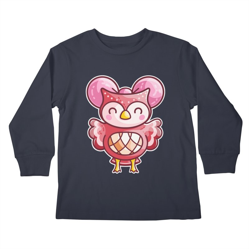 Cute Celeste Owl Kids Longsleeve T-Shirt by Flaming Imp's Artist Shop