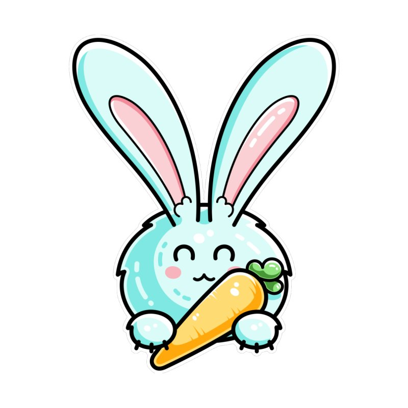Kawaii Cute Rabbit Holding Carrot Accessories Notebook by Flaming Imp's Artist Shop
