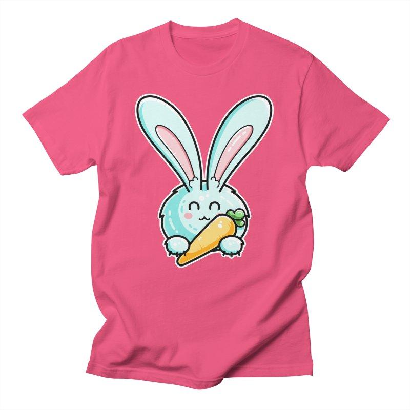 Kawaii Cute Rabbit Holding Carrot Unisex T-Shirt by Flaming Imp's Artist Shop