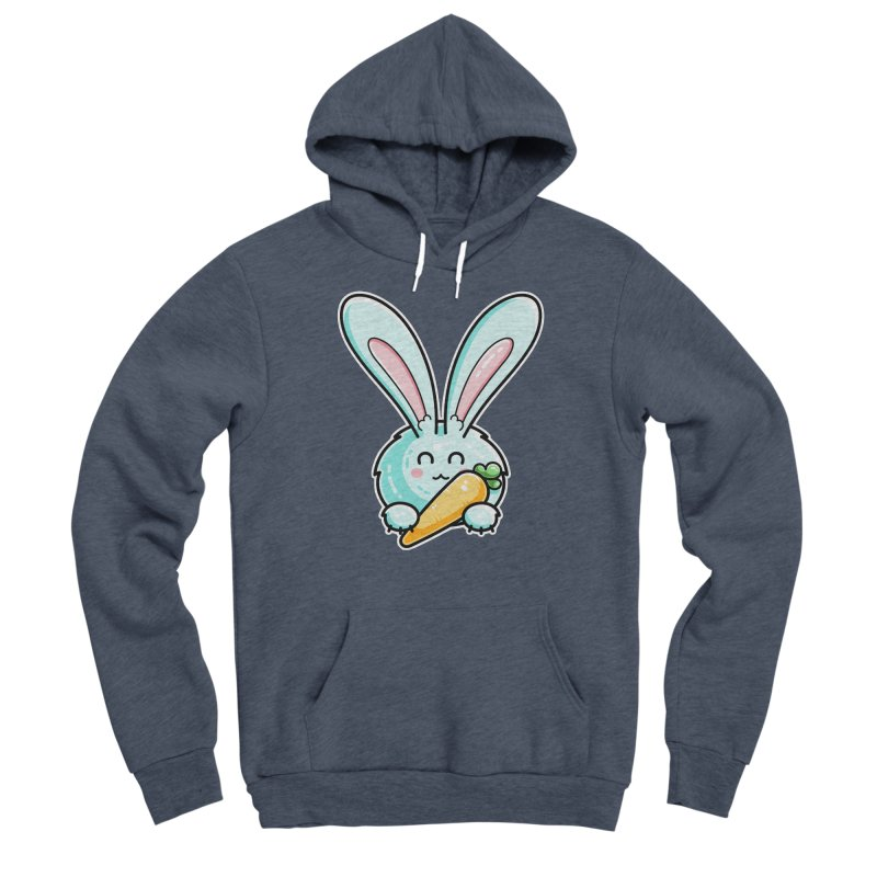 Kawaii Cute Rabbit Holding Carrot Men's Pullover Hoody by Flaming Imp's Artist Shop