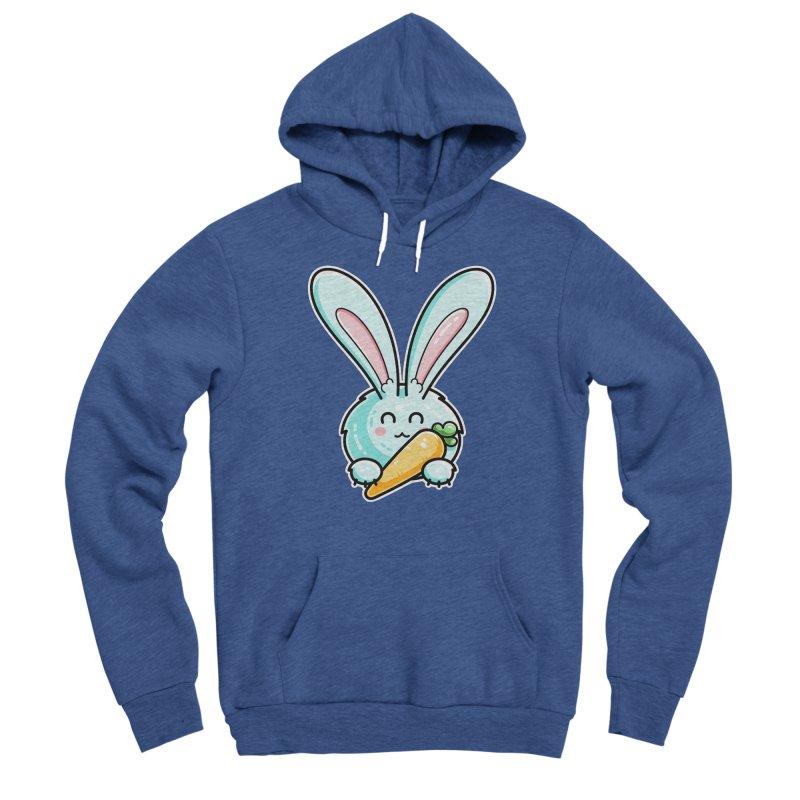 Kawaii Cute Rabbit Holding Carrot Men's Pullover Hoody by Flaming Imp's Artist Shop