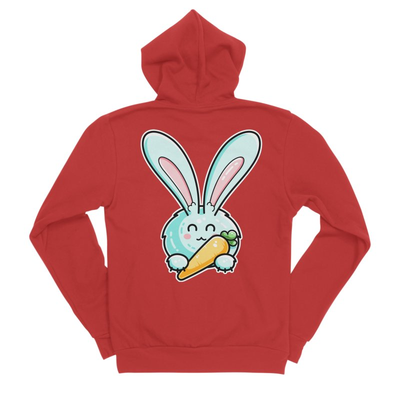 Kawaii Cute Rabbit Holding Carrot Fitted Zip-Up Hoody by Flaming Imp's Artist Shop