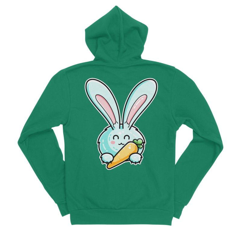 Kawaii Cute Rabbit Holding Carrot Women's Zip-Up Hoody by Flaming Imp's Artist Shop