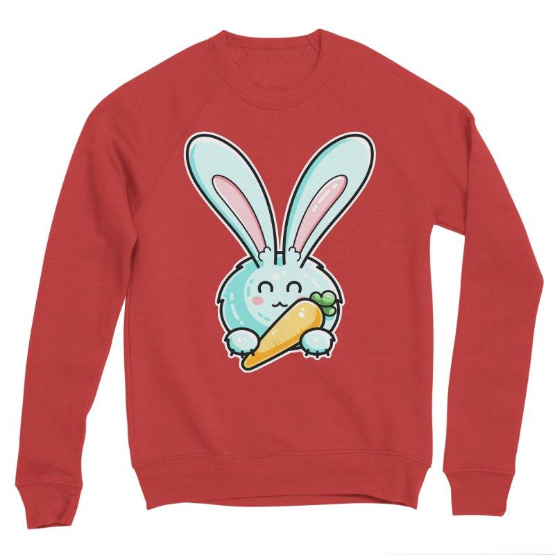 Kawaii Cute Rabbit Holding Carrot Men's Sponge Fleece Sweatshirt by Flaming Imp's Artist Shop