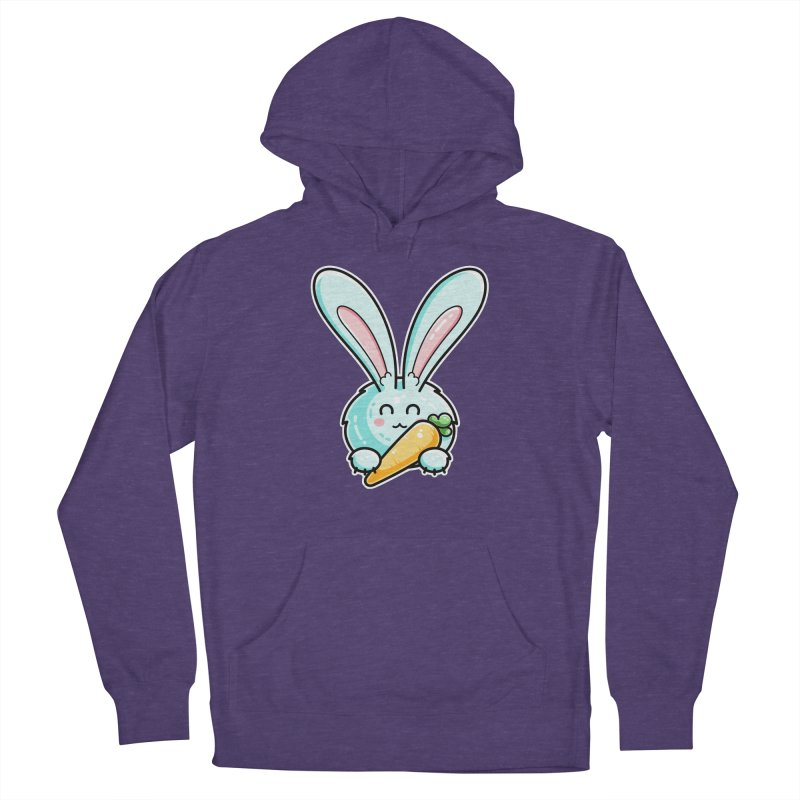 Kawaii Cute Rabbit Holding Carrot Fitted Pullover Hoody by Flaming Imp's Artist Shop