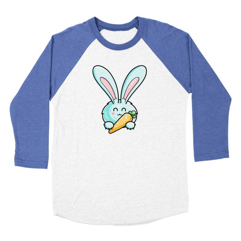 Kawaii Cute Rabbit Holding Carrot Women's Baseball Triblend Longsleeve T-Shirt by Flaming Imp's Artist Shop