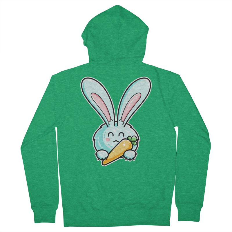 Kawaii Cute Rabbit Holding Carrot Women's French Terry Zip-Up Hoody by Flaming Imp's Artist Shop