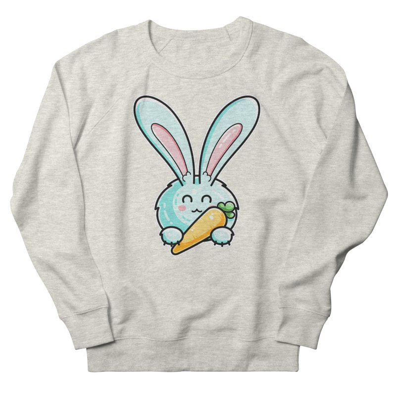 Kawaii Cute Rabbit Holding Carrot Men's French Terry Sweatshirt by Flaming Imp's Artist Shop
