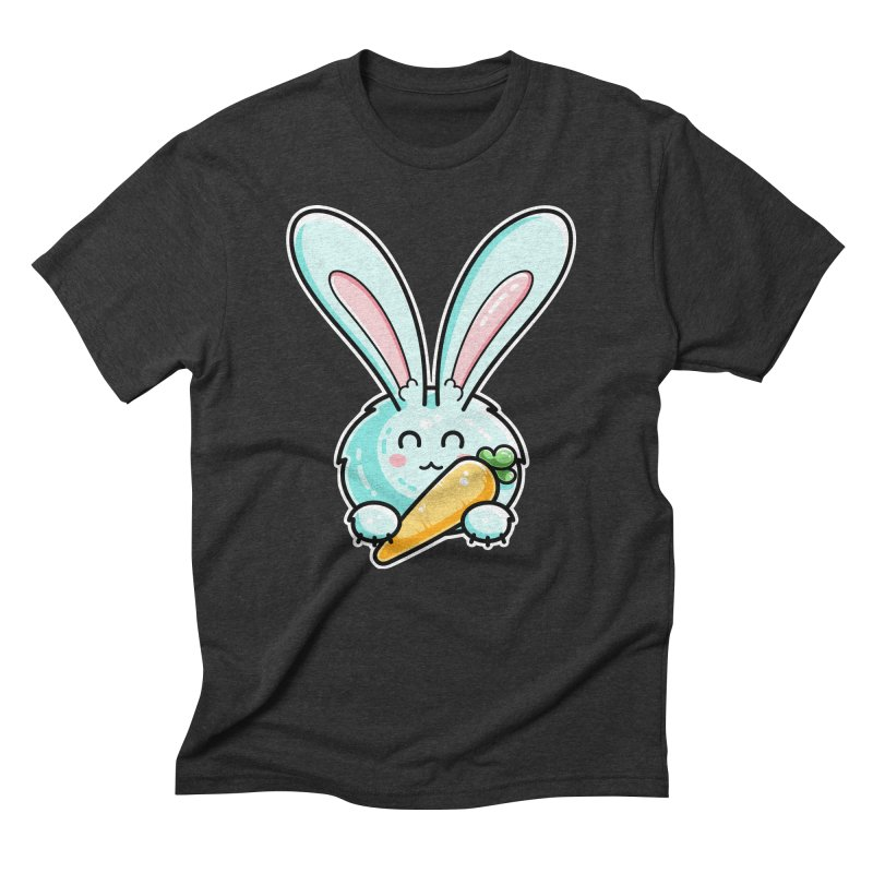 Kawaii Cute Rabbit Holding Carrot Men's Triblend T-Shirt by Flaming Imp's Artist Shop