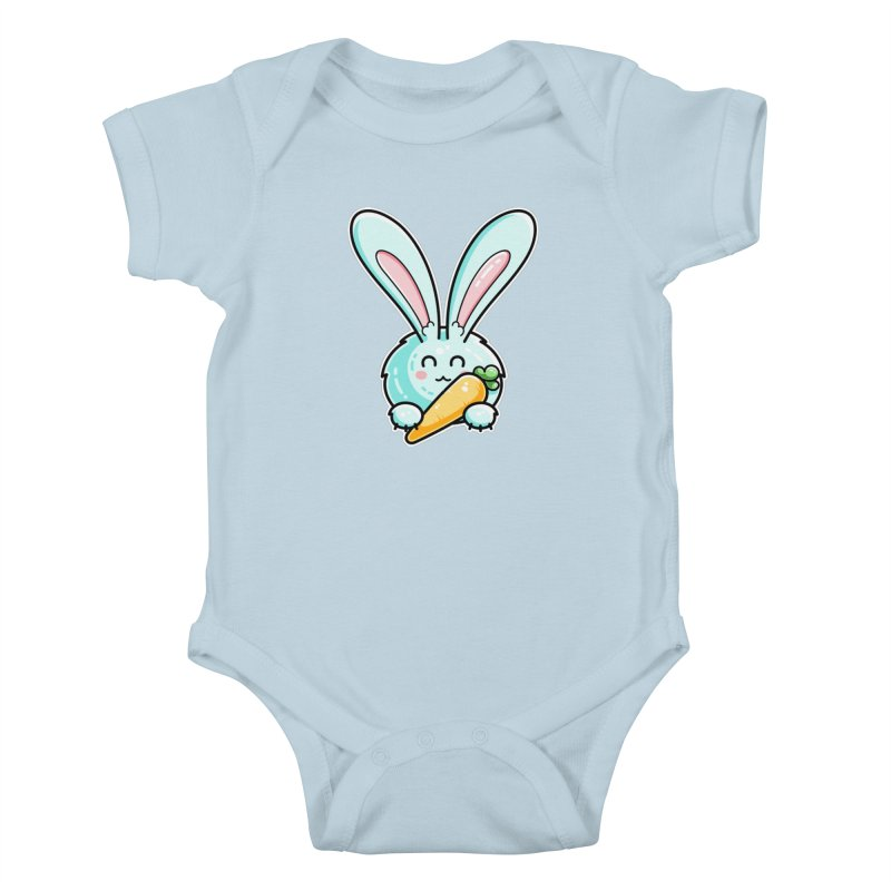 Kawaii Cute Rabbit Holding Carrot Kids Baby Bodysuit by Flaming Imp's Artist Shop