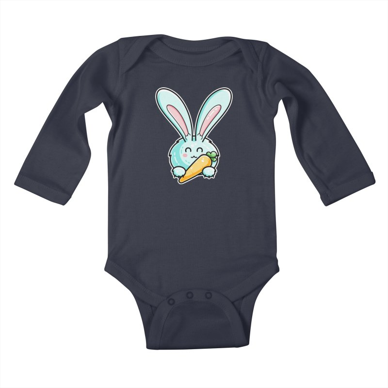 Kawaii Cute Rabbit Holding Carrot Kids Baby Longsleeve Bodysuit by Flaming Imp's Artist Shop