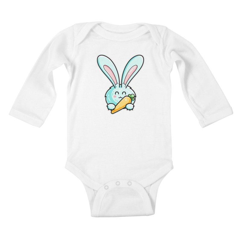 Kawaii Cute Rabbit Holding Carrot Kids Baby Longsleeve Bodysuit by Flaming Imp's Artist Shop