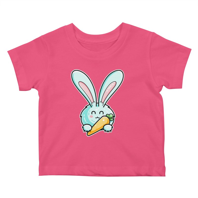Kawaii Cute Rabbit Holding Carrot Kids Baby T-Shirt by Flaming Imp's Artist Shop