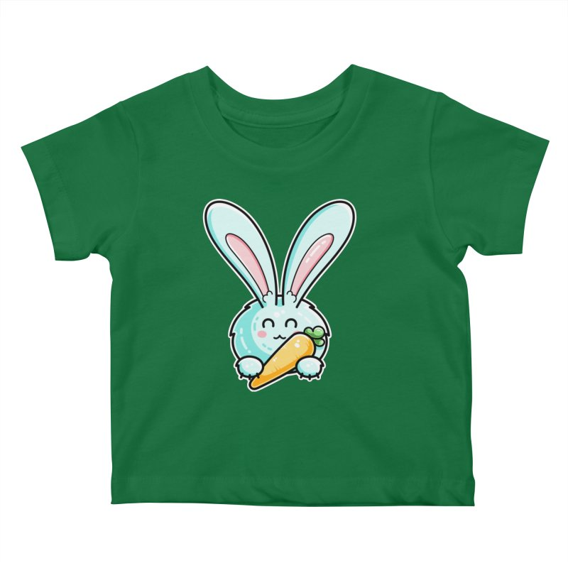 Kawaii Cute Rabbit Holding Carrot Kids Baby T-Shirt by Flaming Imp's Artist Shop