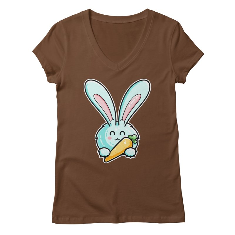 Kawaii Cute Rabbit Holding Carrot Fitted V-Neck by Flaming Imp's Artist Shop