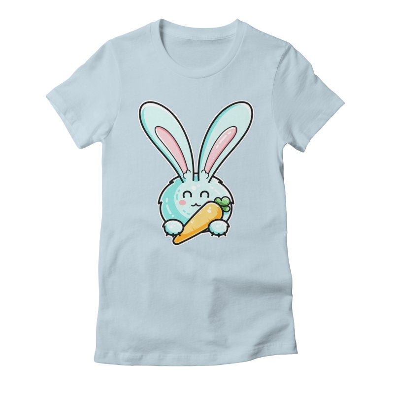 Kawaii Cute Rabbit Holding Carrot Fitted T-Shirt by Flaming Imp's Artist Shop