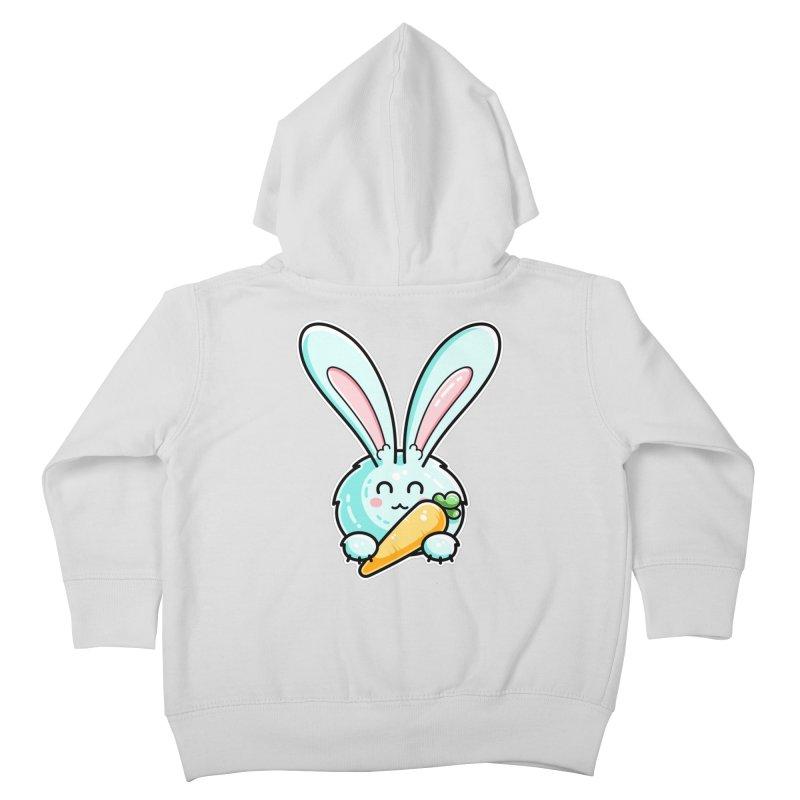 Kawaii Cute Rabbit Holding Carrot Kids Toddler Zip-Up Hoody by Flaming Imp's Artist Shop