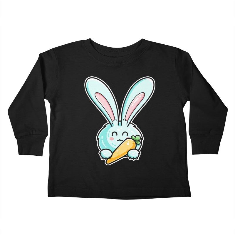Kawaii Cute Rabbit Holding Carrot Kids Toddler Longsleeve T-Shirt by Flaming Imp's Artist Shop