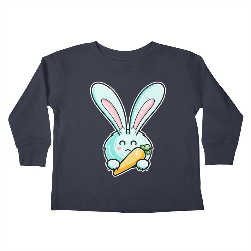 Kawaii Cute Rabbit Holding Carrot Kids Toddler Longsleeve T-Shirt by Flaming Imp's Artist Shop