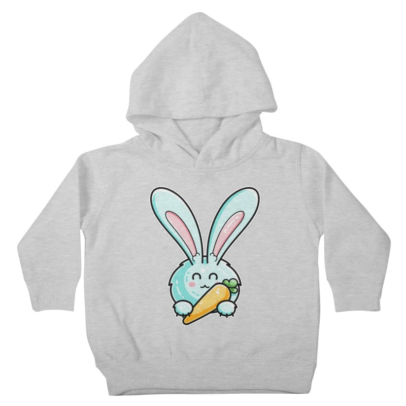 Kawaii Cute Rabbit Holding Carrot Kids Toddler Pullover Hoody by Flaming Imp's Artist Shop