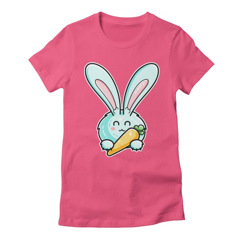 Kawaii Cute Rabbit Holding Carrot Women's Fitted T-Shirt by Flaming Imp's Artist Shop