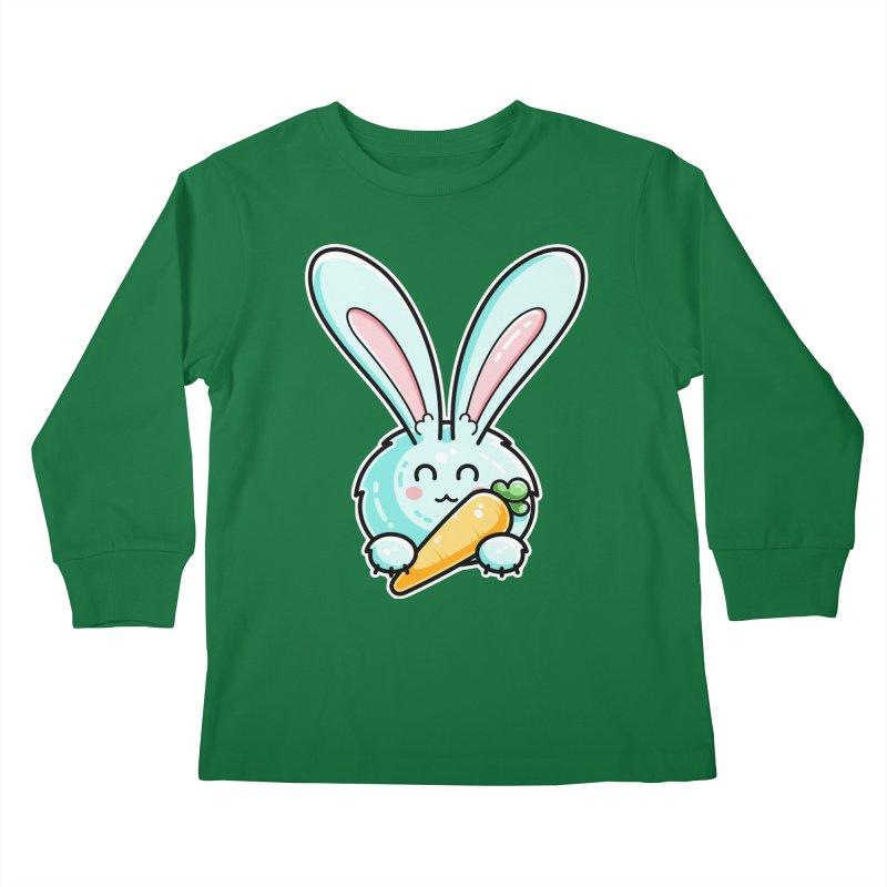 Kawaii Cute Rabbit Holding Carrot Kids Longsleeve T-Shirt by Flaming Imp's Artist Shop
