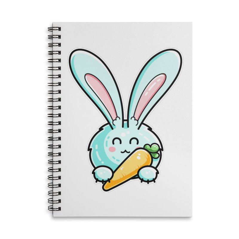 Kawaii Cute Rabbit Holding Carrot Accessories Lined Spiral Notebook by Flaming Imp's Artist Shop