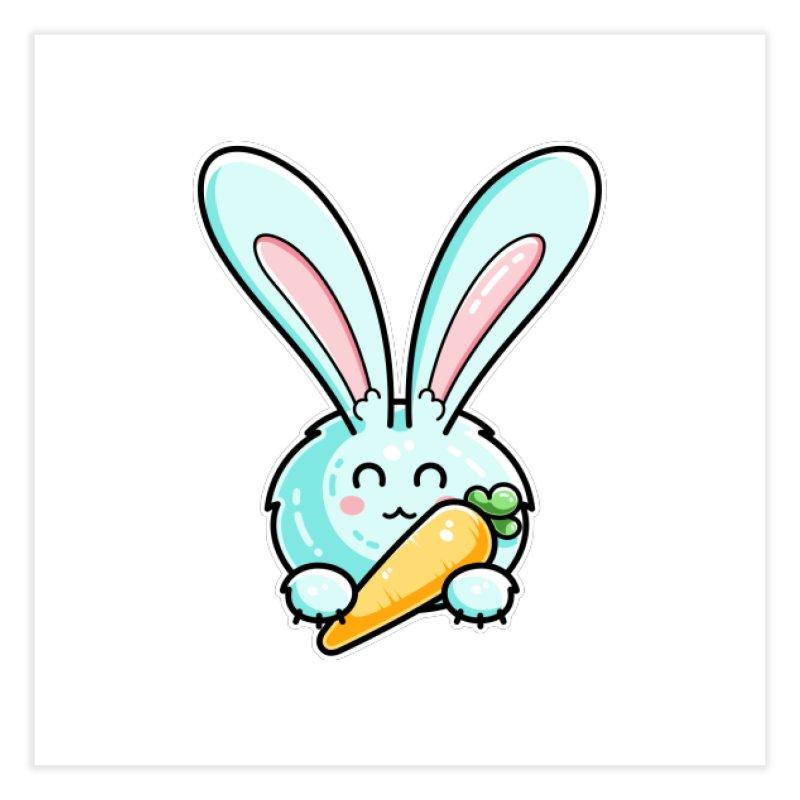 Kawaii Cute Rabbit Holding Carrot Home Fine Art Print by Flaming Imp's Artist Shop
