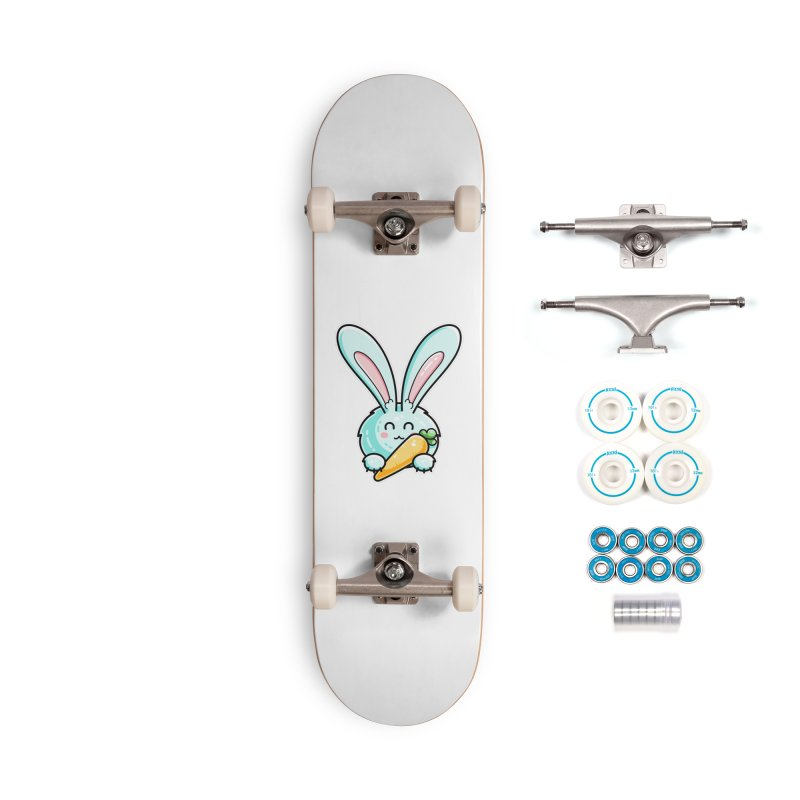 Kawaii Cute Rabbit Holding Carrot Accessories Complete - Basic Skateboard by Flaming Imp's Artist Shop