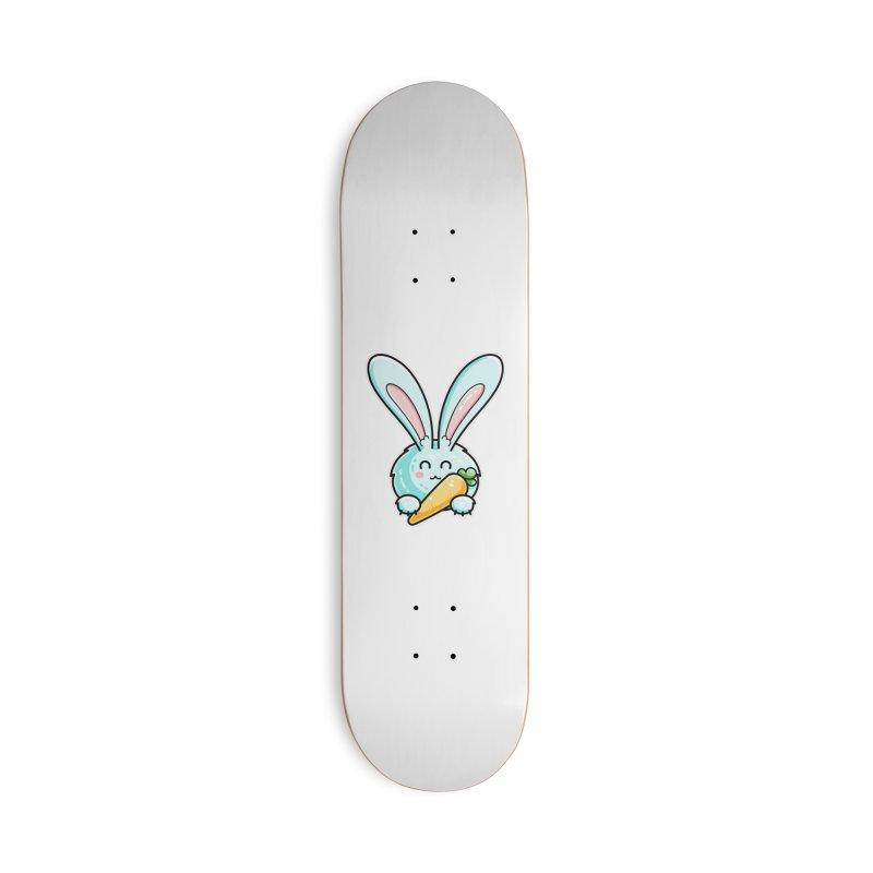 Kawaii Cute Rabbit Holding Carrot Accessories Skateboard by Flaming Imp's Artist Shop