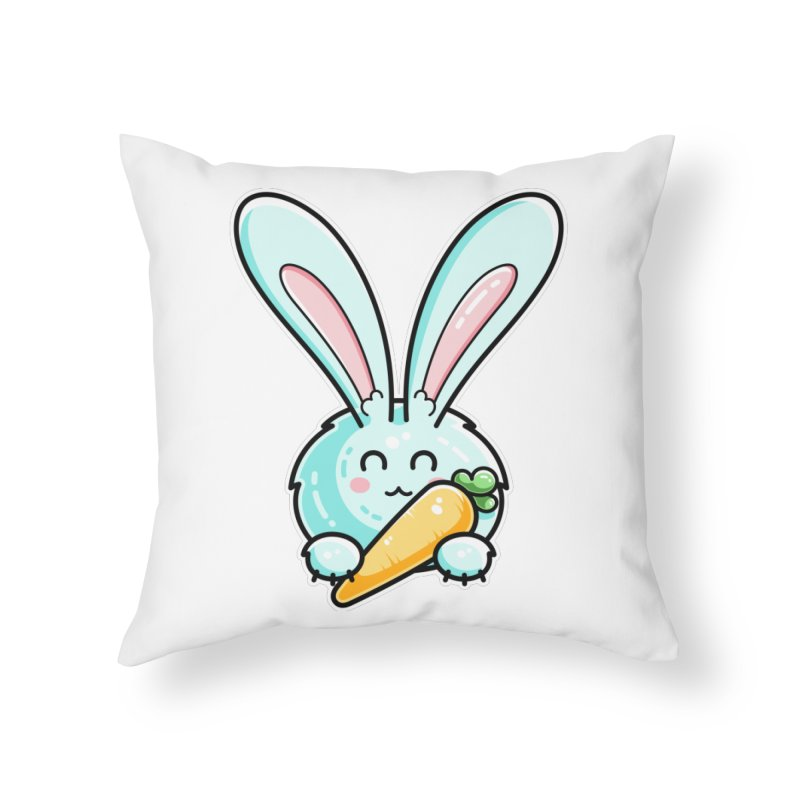 Kawaii Cute Rabbit Holding Carrot Home Throw Pillow by Flaming Imp's Artist Shop