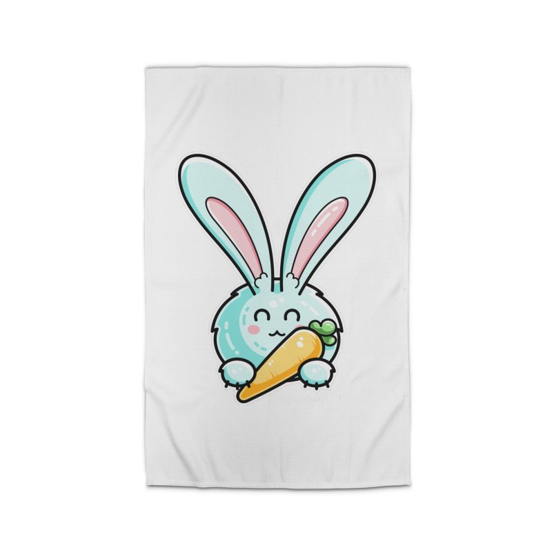 Kawaii Cute Rabbit Holding Carrot Home Rug by Flaming Imp's Artist Shop