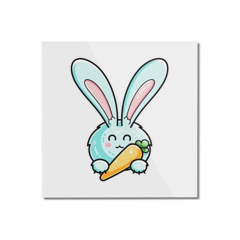 Kawaii Cute Rabbit Holding Carrot Home Mounted Acrylic Print by Flaming Imp's Artist Shop