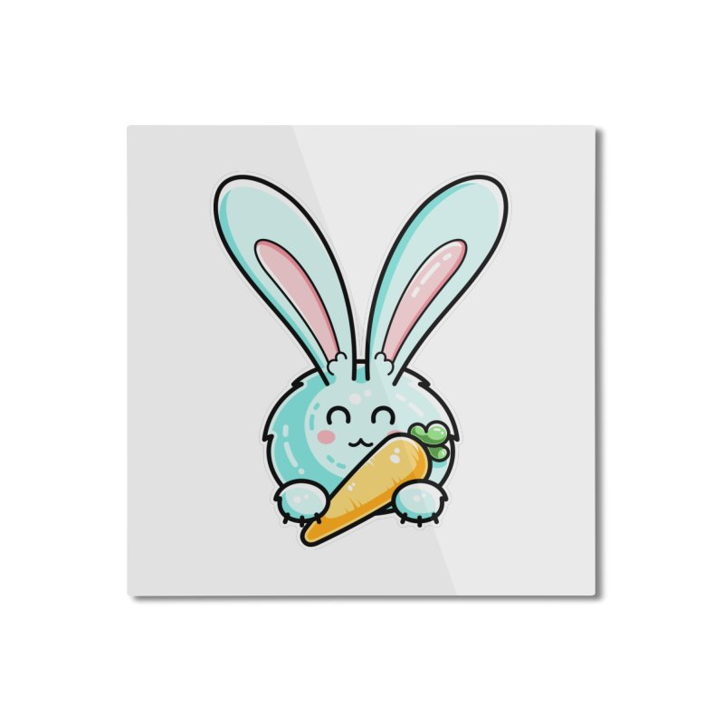 Kawaii Cute Rabbit Holding Carrot Home Mounted Aluminum Print by Flaming Imp's Artist Shop