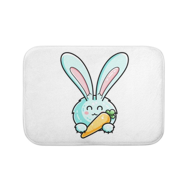 Kawaii Cute Rabbit Holding Carrot Home Bath Mat by Flaming Imp's Artist Shop