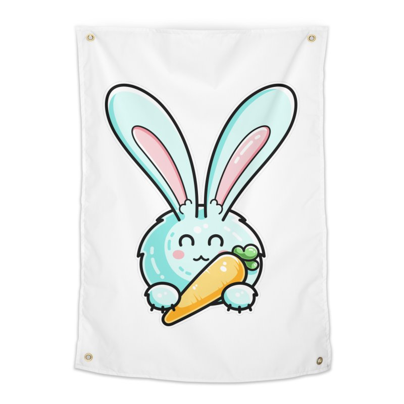 Kawaii Cute Rabbit Holding Carrot Home Tapestry by Flaming Imp's Artist Shop