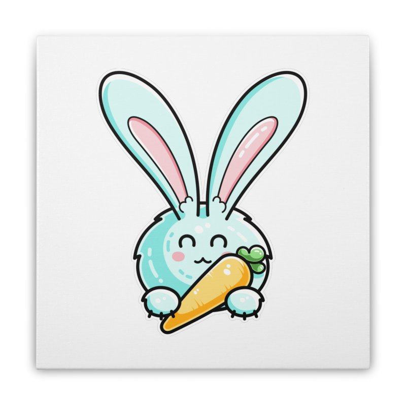 Kawaii Cute Rabbit Holding Carrot Home Stretched Canvas by Flaming Imp's Artist Shop