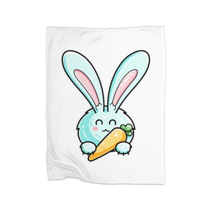 Kawaii Cute Rabbit Holding Carrot Home Fleece Blanket Blanket by Flaming Imp's Artist Shop