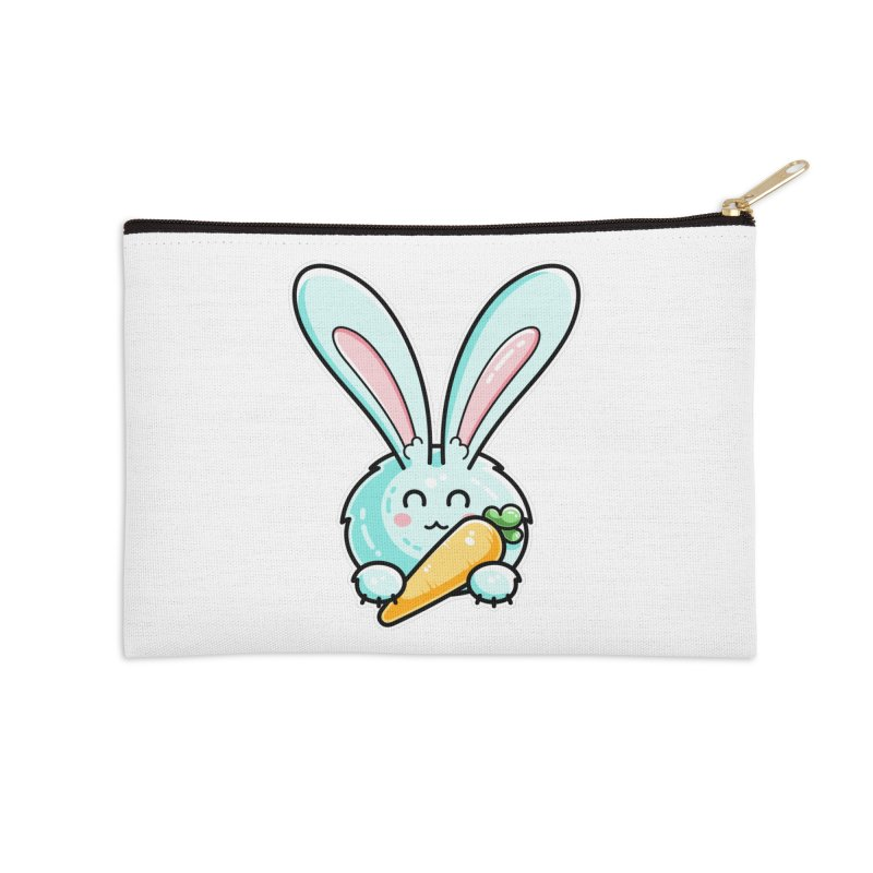 Kawaii Cute Rabbit Holding Carrot Accessories Zip Pouch by Flaming Imp's Artist Shop