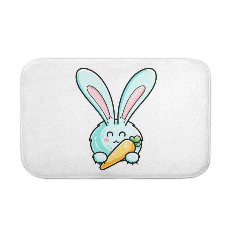 Kawaii Cute Rabbit Holding Carrot Home Bath Mat by Flaming Imp's Artist Shop