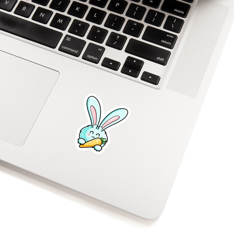 Kawaii Cute Rabbit Holding Carrot Accessories Sticker by Flaming Imp's Artist Shop