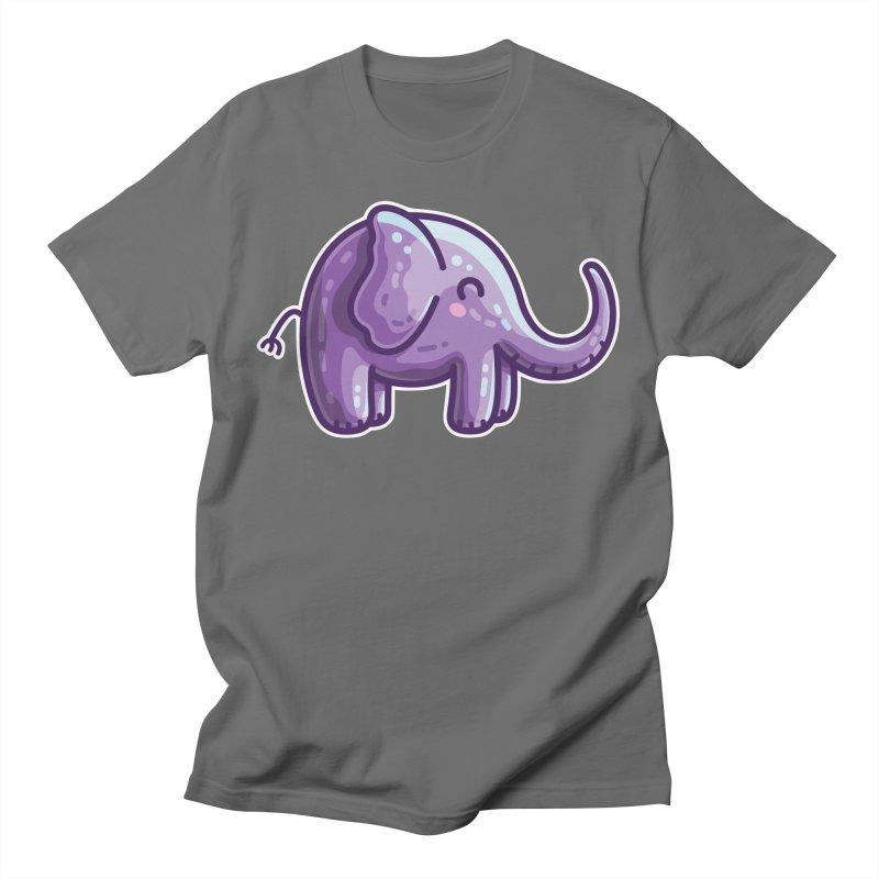 Kawaii Cute Purple Elephant Unisex T-Shirt by Flaming Imp's Artist Shop