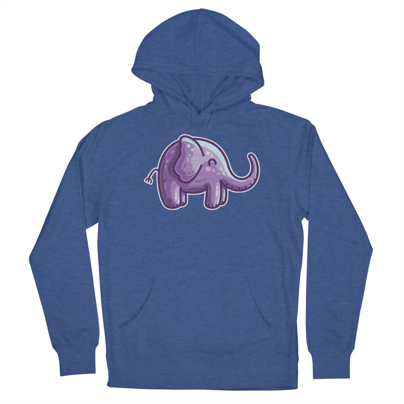 Kawaii Cute Purple Elephant Men's French Terry Pullover Hoody by Flaming Imp's Artist Shop