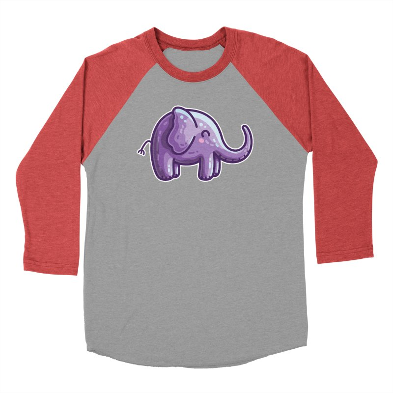 Kawaii Cute Purple Elephant Men's Longsleeve T-Shirt by Flaming Imp's Artist Shop