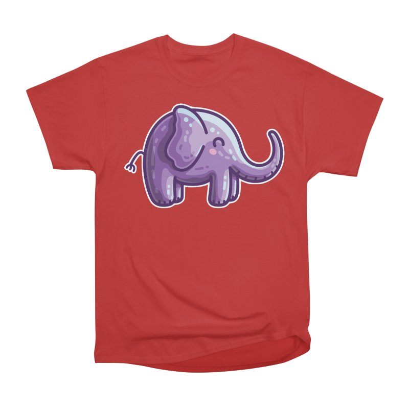 Kawaii Cute Purple Elephant Men's Heavyweight T-Shirt by Flaming Imp's Artist Shop
