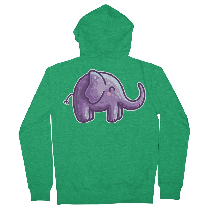 Kawaii Cute Purple Elephant Women's French Terry Zip-Up Hoody by Flaming Imp's Artist Shop